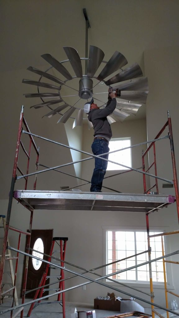 Installation_eight_foot_windmill_ceiling_fan